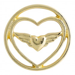 Heart w/ Wings - Gold - Large