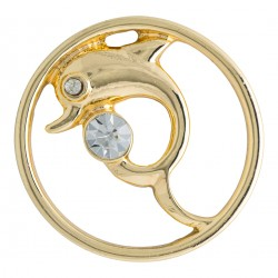 Dolphin w/ Crystal - Gold - Large