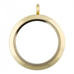 Glass Locket - Gold - Large