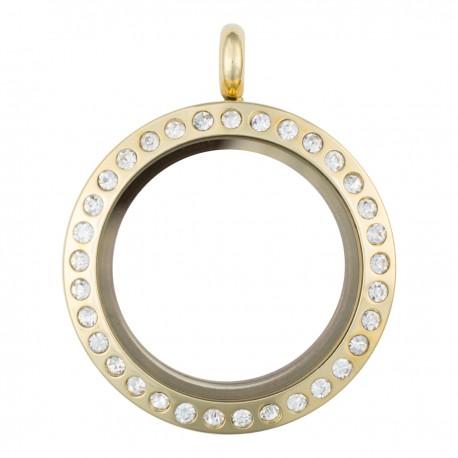 Glass Locket - Gold w/ Crystals - Medium