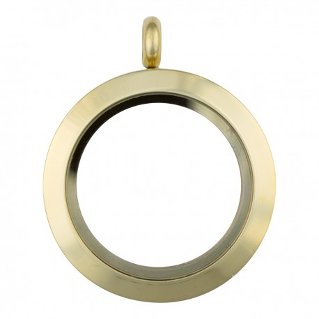 Glass Locket - Gold - Medium
