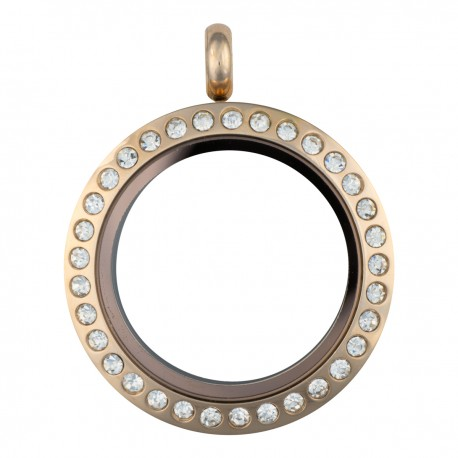 Glass Locket  - Rose Gold w/ Crystals -  Medium