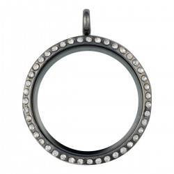 Glass Locket - Alloy - Gunmetal - Large
