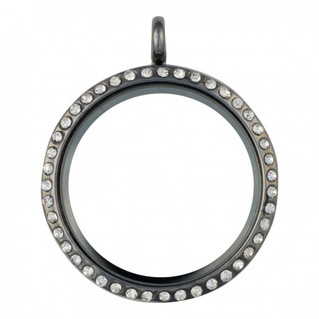 Glass Locket - Alloy - Gunmetal - Large