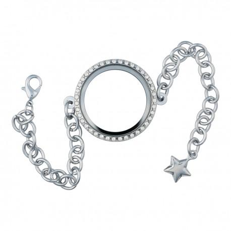 Glass Locket Bracelet - Alloy - Silver w/ Crystals - Large