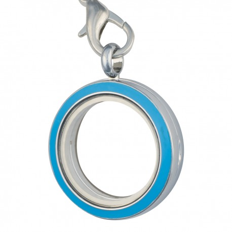 Glass Locket Dangle - Alloy - Turquoise w/ Crystals - Medium
