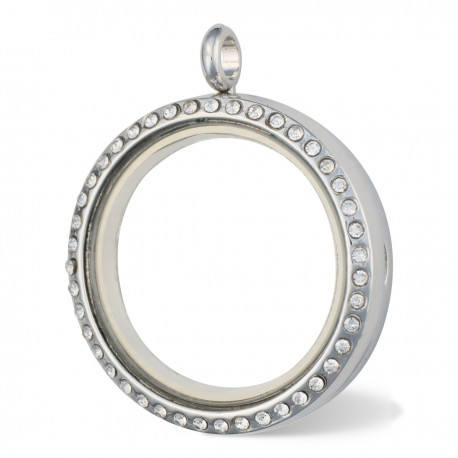 Glass Locket - Alloy - Silver w/ Crystals - Large