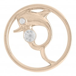 Dolphin w/ Crystal - Rose Gold - Large