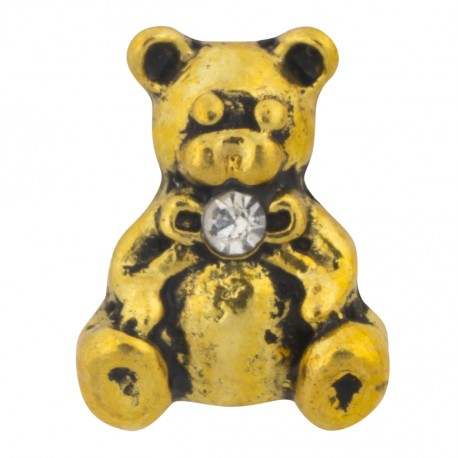Teddy Bear - Gold Floating Charm