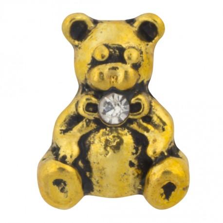 Teddy Bear - Gold Floating Charm