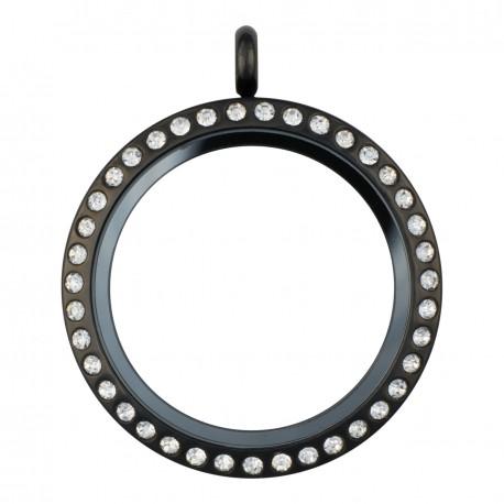 Glass Locket - Alloy - Black w/ Crystals - Large