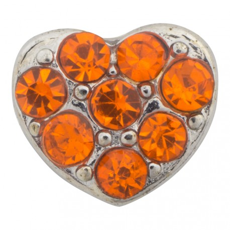 Heart with Orange Crystals Floating Charm