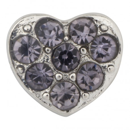Heart with Purple Crystals Floating Charm